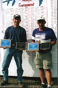 C.B. Schantz and Bernie, champions of the 2003 Jordan/Hell Creek Tournament with an eight walleye total of 57.22 pounds, better then a seven-pound average