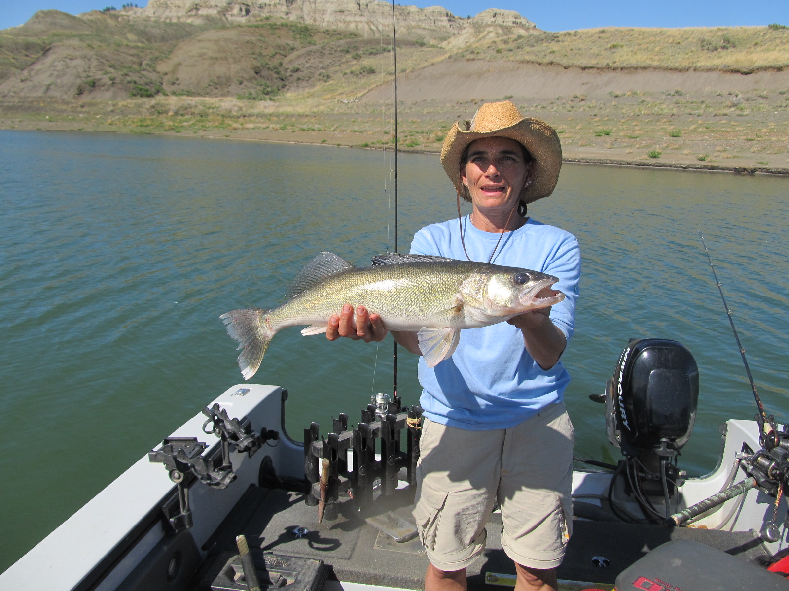 Vanna boccadori with a 6 5 pound walleye fort peck for Fort peck fishing report